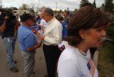 Charlevoix, MI, May 11, 2004--John Ramsey(left) and Patsey Ramsey(right) talk to supporters after...