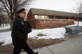 Aurora Police Chief Dan Oates (cq)  walks to the Department's confidential monthly CQT meeting on...