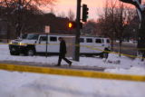 The scene where Broncos player Darrent Williams was shot and killed in a Hummer limousine, at 11th...