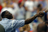(CANTON, Ohio., SHOT 8/8/2004) Retired Broncos' tight end Shannon Sharpe was on hand to watch as...