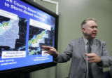 TXEG105 - Retired Air Force Brig. Gen. David L. Johnson, director of the weather service, speaks...