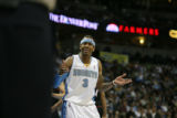 (DLM2878) - Denver Nuggets guard Allen Iverson argues with an official about a call in the fourth...