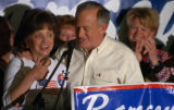 Charlevoix, MI, May 11, 2004--Patsy and John Ramsey rally supporters after John officially...