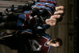 Colorado Avalanche players, from left, Tyler Arnason, Jordan Leopold, Paul Stastny, Marek Svatos,...