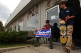 Charlevoix, MI, May 11, 2004--Burke Ramsey,17,(right) walks by Tony Dvorak, 76, at campaign...