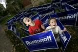 Ryan, 6,  left, and Weston, 4, Ferguson pose for a portrait in a maze that the brothers built for...