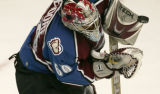 Jose Theodore stops a shot in the Second period of the Colorado Avalanche opener against the...