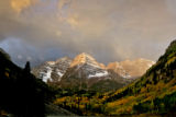 The snow capped Maroon Bells early Wednesday morning September 20, 2006 in Maroon Bells Recreation...