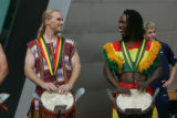 10: 02 a.m. October 7, 2006.  Members of the Kissidugu group, a West African dance and percussion...