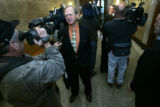 Al Kolwicz (cq) (foreground) representing Colorado voters talks to the media with attorney for the...