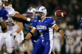 The football hangs in the air momentarily as Air Force Falcons' Chad Hall (#1, HB) leaves the ball...