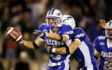 Air Force Falcons cornerback Chris Sutton (#6, CB) celebrates with teammate Bobby Giannini (#11,...