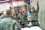 MJM265 Sergeant, Tracey Koontz (cq), left, watches as staff Sergeant, Nicholas Higgins (cq),...