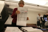 Paula VanDusen, cq, uses voting Test Boards, Thursday Oct. 19, 2006 to test voting machines at the...