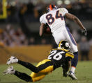 (JPM787) In the third quarter, Denver Broncos Javon Walker, #84, breaks away from Pittsburgh...