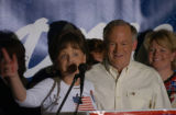 Charlevoix, MI, May 11, 2004--Patsy and John Ramsey address supporters after John officially...