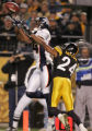 (JPM1111) In the fourth quarter, Denver Broncos Javon Walker catches a 10-yard touchdown pass, his...