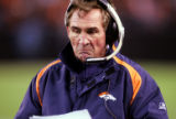 Denver Broncos head coach Mike Shanahan after the Cleveland Browns scored a touchdown in the...