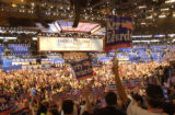 (BOSTON, Mass, July 26, 2004)  Delegates cheer during the first night of the 2004 Democratic...