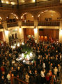 Historic Denver supporters enjoy cocktails in the lobby of the historic Brown Palace Hotel. (STEVE...