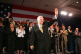 Vice President Dick Cheney waves to the crowd after speaking at a rally for 5th Congressional...