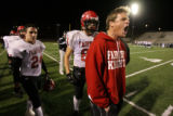 (DLM3127) -  Coach Zach Higgins tries to fire up the players on the Fairview sidelines as Fairview...