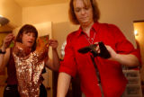 Albuquerque, NM., photo taken July 29, 2004-Dana (left) and Lynne Whitehorn-Umphres take a look at...