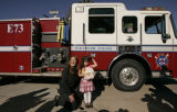 Victoria Bustillos (CQ), 5, of Thornton, Colo., is honored as a hero by Firefighter and fire...