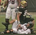 University of Colorado defensive tackle Taj Kaynor sacks Texas Tech quarterback Graham Harrell,...