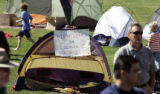 About a 100 supporters gathered in a tent City at Rude Park in denver, Sunday afternoon October...