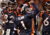 Denver Broncos kicker Jason Elam celebrates making a 51 yard field goal in the second quarter of...