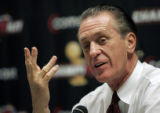AAA106 - Miami Heat head coach Pat Riley gestures as he explains how he will wear his new...