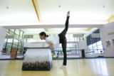 Christina Noel Adcock (cq), dance coordinator and ballet teacher for the Arvada Center, rehearses...