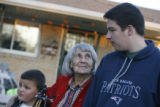 (DLM1334) -  With her great great grandson Dante Espinoza, 8, at her side Lydia Cooper, 91,...