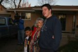 (DLM1338) -  With her great great grandson Dante Espinoza, 8, at her side Lydia Cooper, 91,...