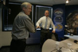 Gubernatorial candidates Bill Ritter and Bob Beauprez shake hands after their debate on the air at...