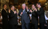 [(Boston, MA,Shot on: 7/27/04)] Senator Edward Kennedy sings with the Overdrive Quartet during a...