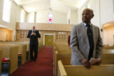 (DLM1003) -  Freddie Barr, 89, stands at the end of the late morning service at the Church of the...