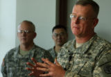 (DLM0208) -  Lt. Gen. Kevin Kiley, the Army's surgeon general, speaks with reporters  about the...