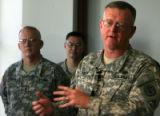 (DLM0209) -  Lt. Gen. Kevin Kiley, the Army's surgeon general, speaks with reporters  about the...