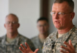 (DLM0212) -  Lt. Gen. Kevin Kiley, the Army's surgeon general, speaks with reporters  about the...
