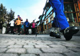Skiers walk the cobblestone walks at Vail Square (Lionshead)  in Vail, CO Tuesday afternoon...