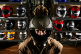 MJM458 John Beldock (cq), owner of Erico Motor Sports in Denver wears a Dainese brand helmet with...