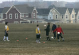 The Boulder Community Force Soccer Club practise in the Foothills Community Park in Boulder, Colo....