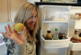 Gretchen Bleiler from Aspen (cq ) finds a real piece of fruit, albeit  a lemon,  in her...