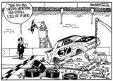Drew Litton cartoon for Feb. 17, 2007. NASCAR post-race cheating inspections.