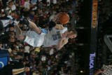 Denver Nuggets guard Steve Blake looks to pass the ball in the fourth quarter against the Portland...