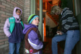 Brownie Julia Vuolo (Cq), 6, and Jr. Girl Scout, Callie Lang (cq), 10, sell girl scout cookies to...