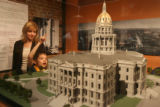 State Capitol Dome supervisor Theresa Holst, cq, watches Cub Scout Grant Mitchell, cq, 10 of Pack...