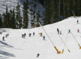 Skiers bunch up at the bottleneck near the bottom of the Mozart run at Keystone Monday February 5,...